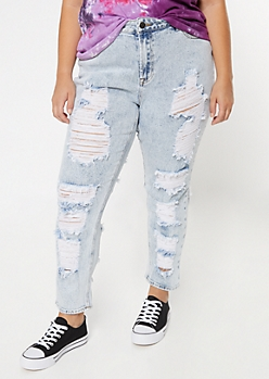Plus Acid Wash Mid Rise Ripped Front Back Throwback Skinny Jeans