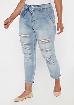Plus Recycled Light Wash Paperbag Waist Rolled Hem Skinny Jeans