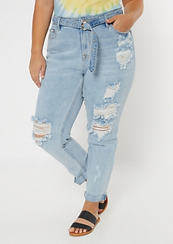 Plus Light Wash High Waisted Throwback Belted Skinny Jeans