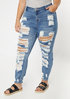 Plus Medium Wash Mid Rise Ripped Front Back Throwback Skinny Jeans