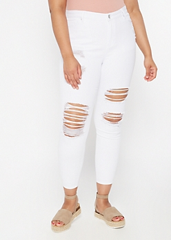 Plus White Cutout High Rise Skinny Jeans