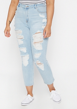 Plus Throwback Light Wash Distressed Mom Jeans