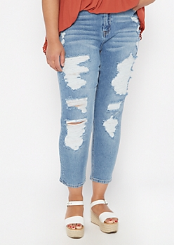 Plus Throwback Medium Wash Distressed Mom Jeans