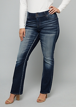 Plus Dark Wash Embroidered Pocket Bootcut Jeans
