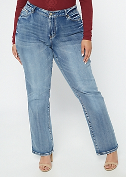 Plus Medium Wash Bootcut Jeans