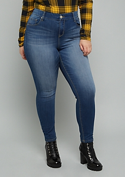 Plus Medium Wash Mid Rise Slim And Shape Jeggings
