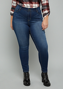 Plus Dark Wash Mid Rise Slim And Shape Jeggings