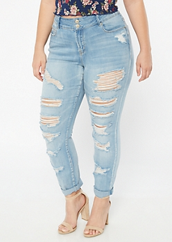 Plus Light Wash Mid Rise Destroyed Cuffed Jeggings