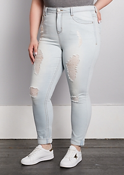 Plus Vintage Destroyed High Rise Skinny Jeans