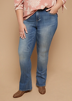 Plus Medium Wash Mid Rise Flared Jeans
