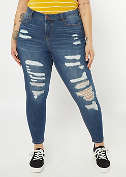 Plus Dark Wash Ripped High Waisted Jeggings