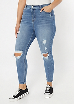 Plus Throwback Recycled Medium Wash Skinny Jeans