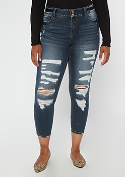 Plus Recycled Dark Wash Ripped Ankle Jeggings
