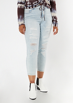 Plus Recycled Light Wash Ripped Ankle Jeggings