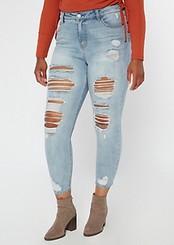 Plus Recycled Throwback Light Wash Ripped Jeggings