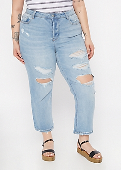 Plus Throwback Recycled Light Wash Blown Knee Straight Leg Jeans