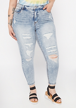 Plus Recycled Acid Wash Ripped Skinny Jeans