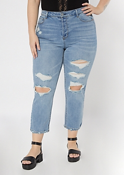 Plus Recycled Light Wash Blown Knee Straight Leg Jeans