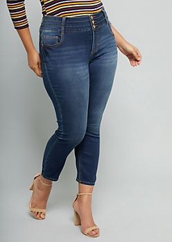 Plus Dark Wash Super Soft Triple Button Jeggings