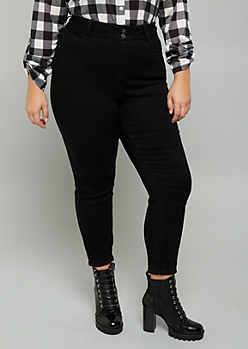 Plus Black Slim and Shape Booty Jeggings in Curvy