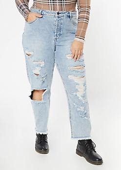 Plus Light Wash Ripped Frayed Straight Jeans