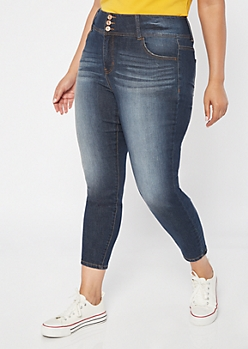 Plus Dark Wash High Waisted Triple Button Jeggings