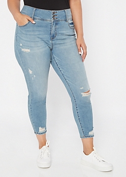 Plus Light Wash High Waisted Triple Button Jeggings