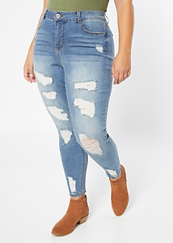 Plus Medium Wash Ripped High Waisted Jeggings