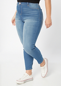 Plus Medium Wash High Waisted Pull On Jeggings