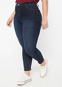 Plus Dark Wash High Waisted Pull On Jeggings