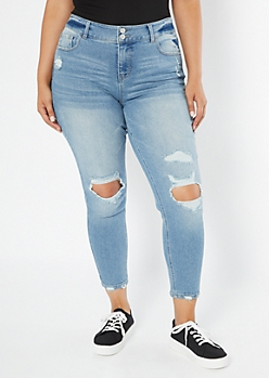 Plus Recycled Throwback Light Wash Distressed Skinny Jeans