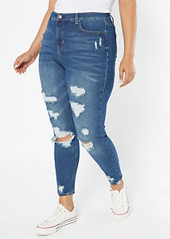Plus Recycled Throwback Dark Wash Distressed Skinny Jeans