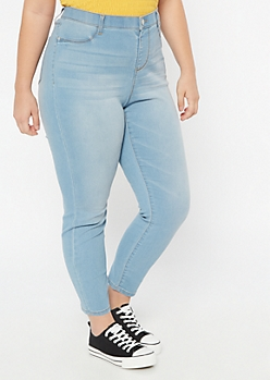 Plus Light Wash Skinny Pull On Jeggings