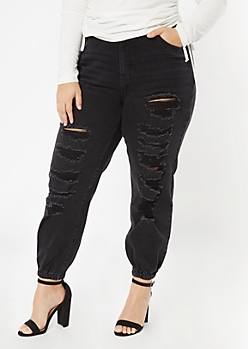 Plus Black Ripped Jogger Jeans