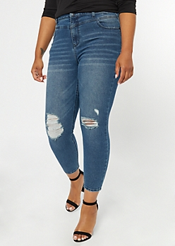 Plus Recycled Throwback Medium Wash Ripped Skinny Jeans