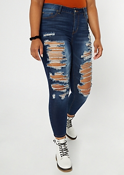 Plus Dark Wash Distressed High Waisted Skinny Jeans