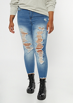 Plus Medium Wash Distressed Raw Cut Skinny Jeans