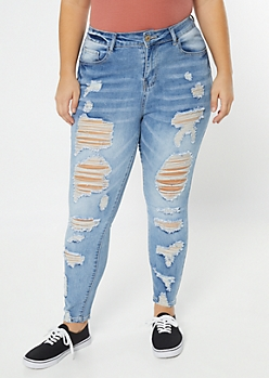 Plus Medium Wash Destructed Mid Rise Jeggings