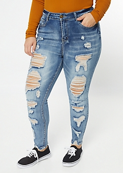 Plus Medium Acid Wash Destructed High Waisted Jeggings