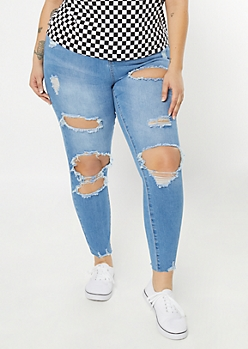 Plus Light Wash Cutout Blown Knee High Waisted Jeggings