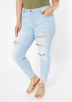 Plus Light Wash Distressed Frayed Hem Jeggings
