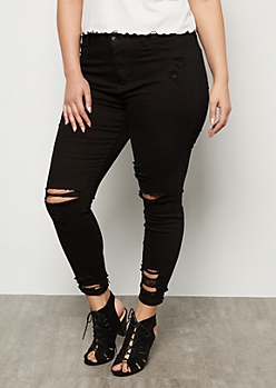 Plus Cello Black Destroyed Mid Rise Cropped Skinny Jeans