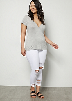 Plus White Mid Rise Distressed Skinny Jeans