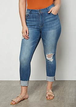 Plus Medium Wash Distressed Wide Rolled Skinny Jeans