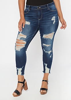 Plus Dark Wash Mid Rise Ripped Jeggings