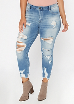 Plus Medium Wash Mid Rise Ripped Jeggings