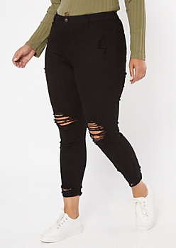 Plus Cello Black Distressed Skinny Jeans