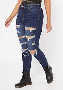 Plus Cello Dark Wash Distressed Jeggings