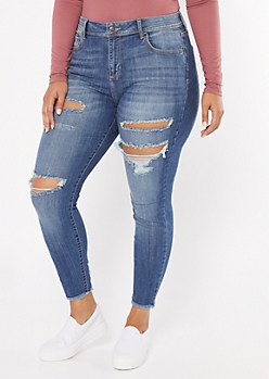 Plus Cello Medium Wash Frayed Cropped Jeggings