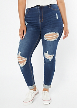Plus Dark Wash Rolled Cuff Distressed Skinny Jeans